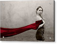 Girl With Red Scarf Acrylic Print