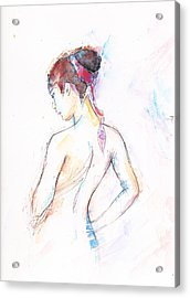 Girl With Red Scarf Acrylic Print by Jovica Kostic