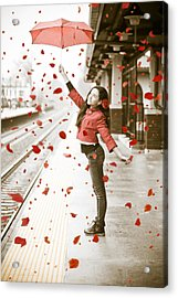Girl With Red Umbrella Acrylic Print
