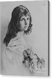 Girl With Roses Acrylic Print