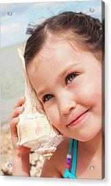 Girl With Seashell Acrylic Print