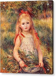 Girl With Sheaf Of Corn Acrylic Print by Pierre-Auguste Renoir