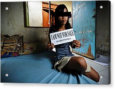 Girl With Sign Acrylic Print by Matthew Oldfield
