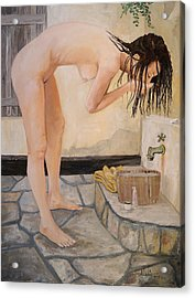 Girl With The Golden Towel Acrylic Print by Alan Lakin