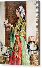 Girl With Two Caged Doves, Cairo, 1864 Acrylic Print by John Frederick Lewis