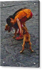 Girl With Two Dogs Acrylic Print by Mary Machare