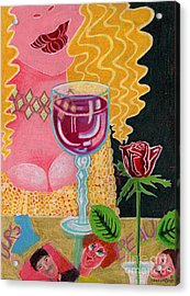 Girl With Wine Glass Acrylic Print