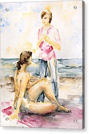 Girlfriends At The Beach Acrylic Print by Barbara Pommerenke