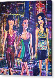 Girlfriends Acrylic Print by Linda Vaughon