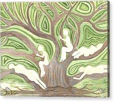 Girls In A Tree Acrylic Print
