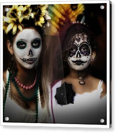 Girls In Costume For Dia Los Muertos Acrylic Print by Gary Warnimont
