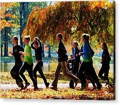 Girls Jogging On An Autumn Day Acrylic Print