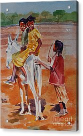 Girls Play Acrylic Print by Mohamed Fadul