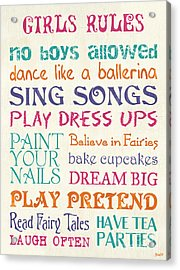 Girls Rules Acrylic Print by Debbie DeWitt