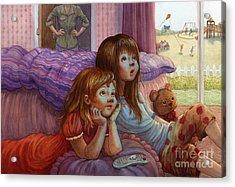 Girls Staring At Tv Acrylic Print by Isabella Kung