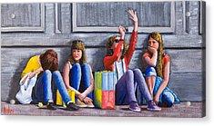 Girls Waiting For Ride Acrylic Print
