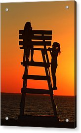 Girls West Meadow Beach New York Acrylic Print