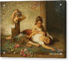 Girls With Flowers Acrylic Print by Celestial Images
