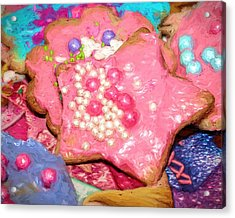 Acrylic Print featuring the painting Girly Pink Frosted Sugar Cookies by Tracie Kaska