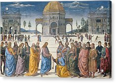 Giving Of The Keys To St Peter, From The Sistine Chapel, 1481 Acrylic Print by Pietro Perugino