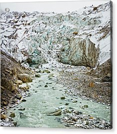 Glacier And River In Mountain Acrylic Print