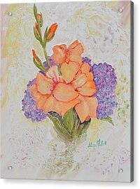 Gladioli And Hydrangea Acrylic Print by Aileen McLeod