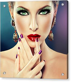 Acrylic Print featuring the digital art Glamorous Lady 2 by Karen Showell