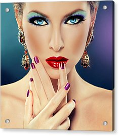 Acrylic Print featuring the digital art Glamorous Lady by Karen Showell