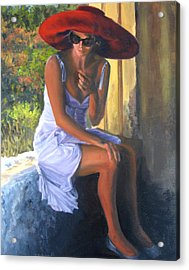 Glamour Of A Red Hat Acrylic Print