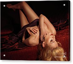 Glamour Photo Of A Woman Lying On A Bed Acrylic Print by Oleksiy Maksymenko