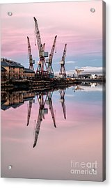Glasgow Cranes With Belt Of Venus Acrylic Print by John Farnan