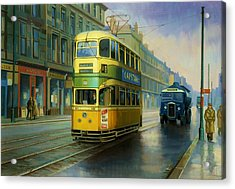 Glasgow Tram. Acrylic Print by Mike  Jeffries