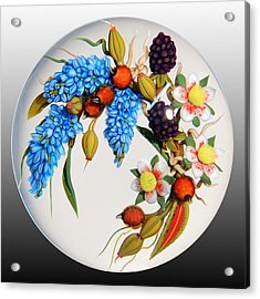 Glass Berries And Blooms Acrylic Print by Chris Buzzini