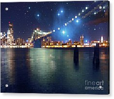 Glass Block Brooklyn Bridge Among The Stars Acrylic Print