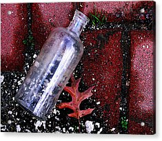 Glass Bottle And  Bricks Acrylic Print by Colleen Kammerer