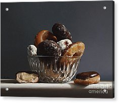 Glass Bowl Of Donuts Acrylic Print by Larry Preston