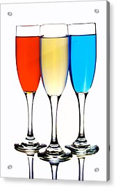 Glass Cups And Colorful Drinking Liquid Art Acrylic Print by Paul Ge