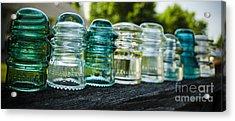 Glass Insulator Row Acrylic Print by Deborah Smolinske