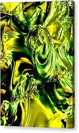 Glass Macro Abstract - Greens And Yellows Acrylic Print by David Patterson