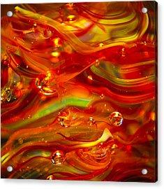 Glass Macro Abstract Rf1 Acrylic Print by David Patterson