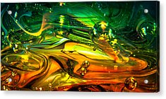 Glass Macro Abstract Rgo1ce2 Acrylic Print by David Patterson