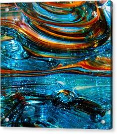 Glass Macro - Blue Swirls Acrylic Print by David Patterson