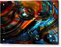 Glass Macro - Blues And Orange Acrylic Print by David Patterson