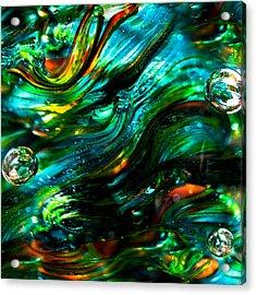Glass Macro - Greens And Blues Acrylic Print by David Patterson