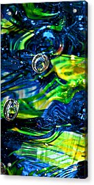 Glass Macro - Seahawks Blue And Green -13e4 Acrylic Print by David Patterson
