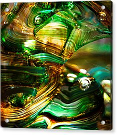 Glass Macro - Waves Of Amber Acrylic Print by David Patterson