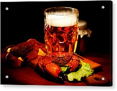Glass Of Beer With Snack  Acrylic Print