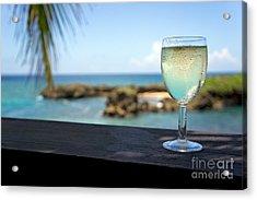 Glass Of Fresh Wine By Tropical Beach Acrylic Print by Sami Sarkis