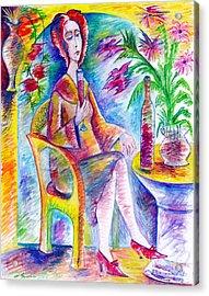 Glass Of Wine Acrylic Print by Milen Litchkov