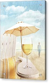 Glass Of  Wine On Adirondack Chair At The Beach Acrylic Print by Sandra Cunningham